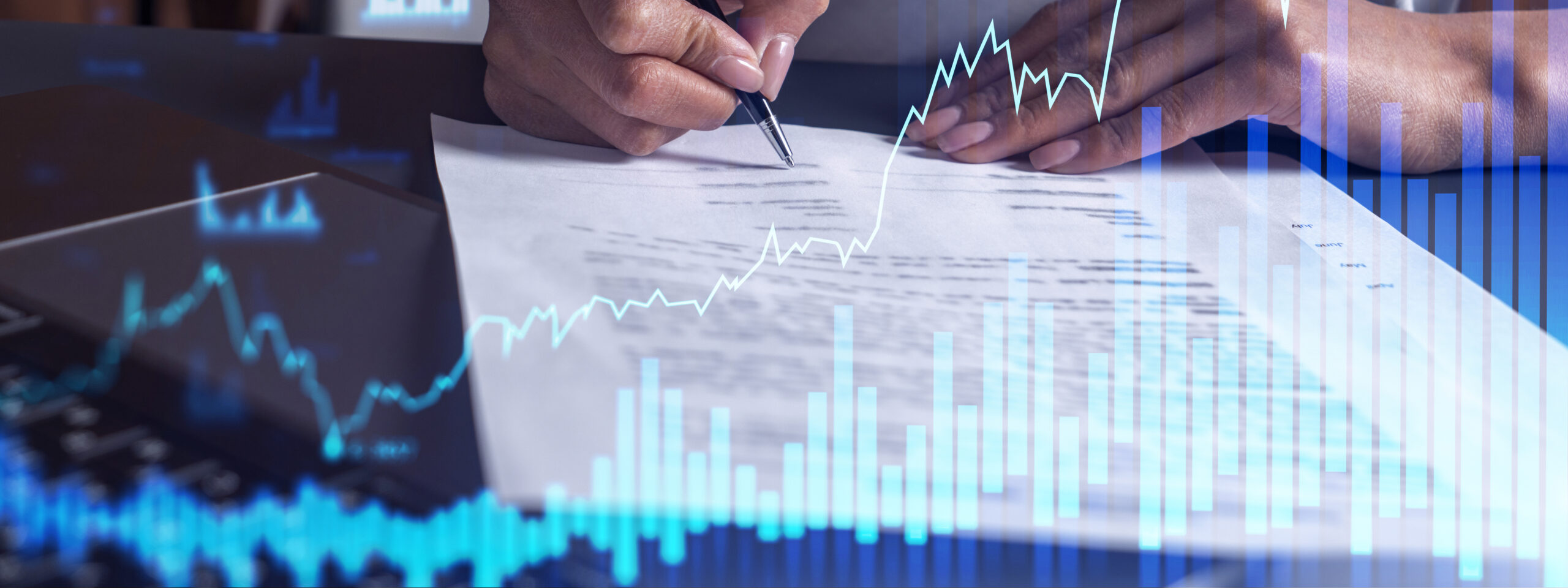 A client in casual wear is signing the contract to invest money in stock market. Internet trading and wealth management. Forex and financial hologram chart over the desk. Women in business concept.